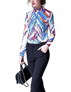 Las mujeres Turn-down Cuello floral impresión manga larga elegante moda camisa blusa