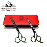 BeautyTrack Cheveux Ciseaux - Ciseaux de coiffure professionnels - Ciseaux de coiffure - longueur 6 - 6.5' - multicolore + rouge Sac du Cadeau