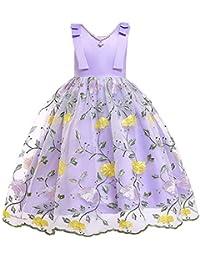 9ae474ef78f SXSHUN-Vestido de Tul con Bordado de Flores para Niñas Vestido con Encaje  de Flores