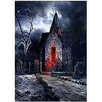 TOOGOO(R) Telon de Fondo de Fotografia de vinilo Telon de fondo de Tema magico Horror castillo, camino de piedra, craneo, piedra, arbol de Halloween 2.1 * 1.5M (7 * 5 pies)