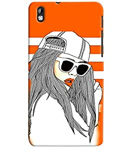 PrintVisa Stylish Cool Girl Fashion Cool 3D Hard Polycarbonate Designer Back Case Cover for HTC Desire 816