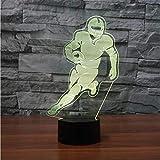 Baby Schlaf Beleuchtung Sport Fans Geschenke 3D American Football Player Tischlampe Led Schlafzimmer Wohnkultur 7 Bunte Rugby Nachtlicht Lbonb