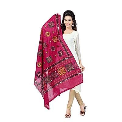 Banjara Women'S Cotton Stoles & Dupattas Kutchi Chakachak (Chk09 _Pink _Handicraft Dupatta_Free Size)