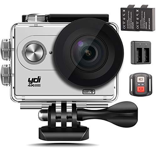 YDI Caméra Sport étanche 4K WiFi 12MP Full HD 1080P Grand Angle 170 ° Caméscope d'action et Sport avec Télécommande + 2 * 1050mAh Batteries (Blanc)