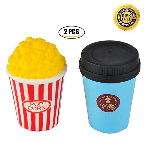 Matschig Jumbo, Dekompression Spielzeug, Kawaii Matschig Langsam Steigend, zum Kinder Erwachsene Hand Handgelenk Spielzeuge durch Proacc (Popcorn + Kaffeetasse) Panda Versorgt