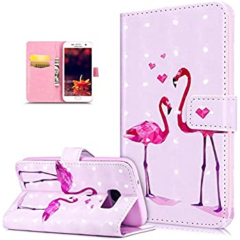 Coque Galaxy S7 Edge,Etui Galaxy S7 Edge Mod/èle de fleurs de flamant rose peint en 3D Motif Etui Housse Cuir PU Portefeuille Folio Flip Case Cover Wallet Coque Protection /&Eacut ikasus Coque Galaxy S7 Edge Bookstyle /Étui Housse en Cuir Case