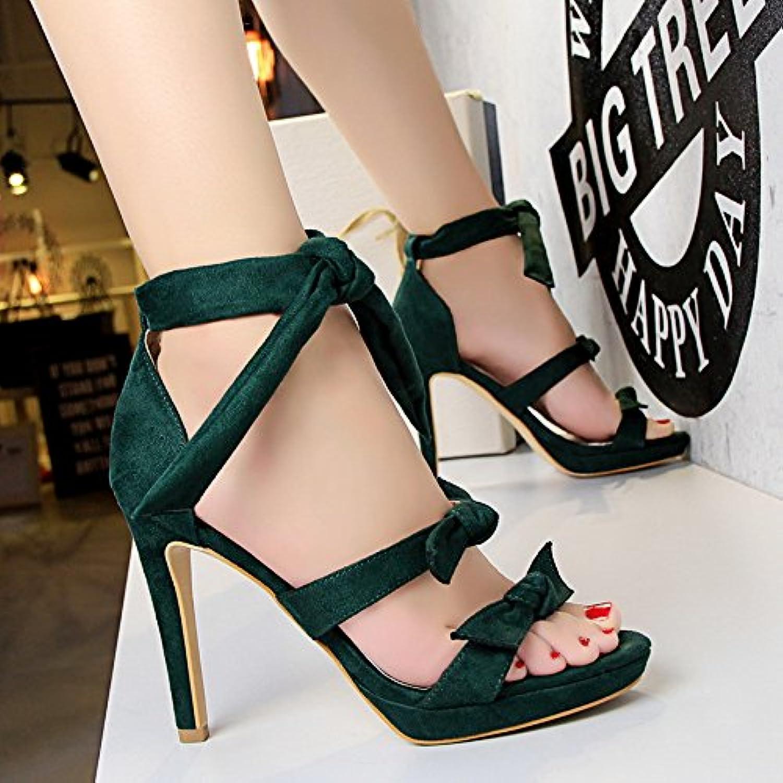 Zapatos De Tacon Alto Impermeable De Mesa, Nudo De Mariposa, Palabra Hueca Con Sandalias,Verde,Eu37Cn38