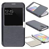Urcover® View Case Handy Schutz-Hülle | Samsung Galaxy S5 Mini | Hart Kunststoff Dunkel Blau | Elegant Wallet Cover Sicht-Fenster | leichte Schale dünne Tasche