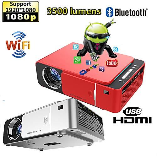 Beamer, Mini Beamer Full HD 3500 Lumens, Projektor Tragbar Videoprojektor 1280*720P unterstützt 1080P, WiFi Beamer LED 30000 Stunden Heimkino und Fußball Spiel Spaß Kompatibel mit HDMI/VGA/USB/AV