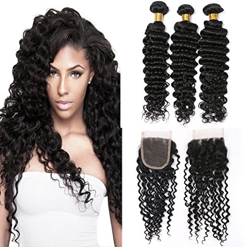 Silkylong Peruvian Hair Bundles With Closures 7A Unprocessed 3 Bundles Deep Curly Weave With Closure 14 16 18+12