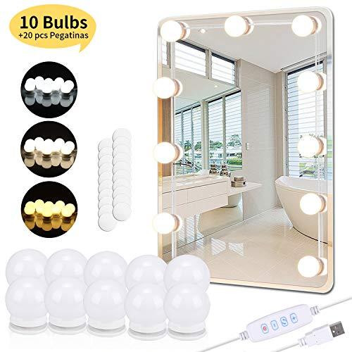 PEYOU Luces de Espejo, 5.5m Kit LED Luz de Tocador Maquillaje con 10 Bombillas Regulables y 20 pcs Pegatinas, Carga USB, 3 Modos Ajustable de Color de Luz(Sin Espejo y Cargador USB)