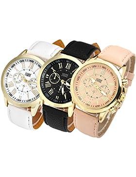 JSDDE Uhren,3x Neue Damenmode Genf Römischen Ziffern Leder Analog Quarz Uhr Armbanduhren, Beige+Schwarz+Weiß