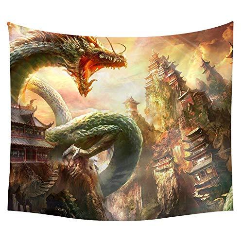 Zauber Drachenwelt Wandteppich Drachen Fantasie Wandbehang Tapisserie Mittelalterlich Legendär Monster Wanddecke Mythos Wildes Tier Märchen Wohnheim Wanddekor Pattern1 59 * 51in