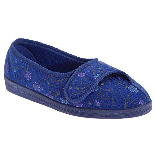 Comfylux Diana Damen Hausschuhe mit Klettverschluss, Blumenmuster (39 EUR) (Blau)