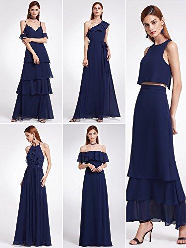 Ever Pretty Frauen Elegantes Modisch zweiteiliges ärmelloses geschichtetes Brautjungfernkleid 36 Größe Navy Blau