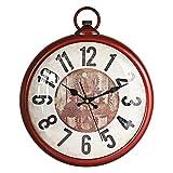 ufengke Orologio da Parete Silenzioso Vintage Rosso Ingranaggio Orologio da Muro al Quarzo con Numeri Grandi 30 cm
