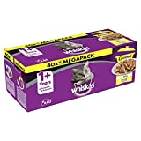 Whiskas 1+ Casserole Wet Cat Food for Adult cats Poultry Selection in Jelly, 40 Pouches (40 x 85 g)