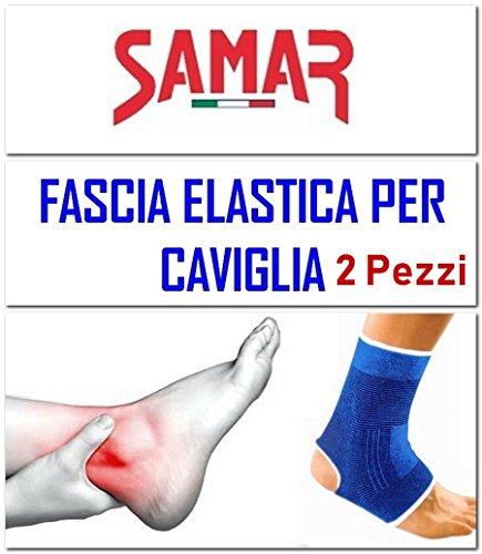 FASCIA ELASTICA CAVIGLIA 2 Pezzi - CAVIGLIERA - TUTORE CAVIGLIE SUPPORTO per Sport Calcio Palestra Lavoro