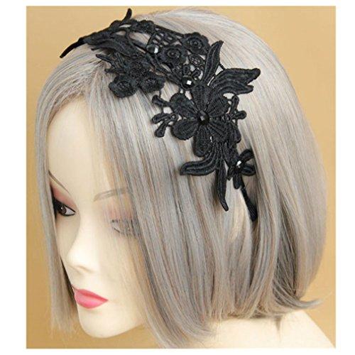 Hecho a mano Halloween cosplay de estilo gótico de encaje negro con tocado adornos diadema