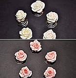 5 Curlies Rose Blumen Braut Oktoberfest ivory, rosa