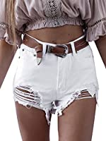 Simplee Apparel Women's Summer Sexy High Waist Ripped Denim Shorts Short Jeans Trousers 12 White