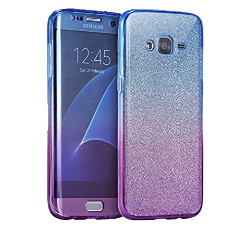 Galaxy J3 2015 / J3 2016 Case, Happy360 Ultra Thin Shockproof TPU TPU 360 Degree Protective Clear Crystal Rubber Soft Case Cover for Samsung Galaxy J3 2015 / J3 2016, Blue Purple & Glitter