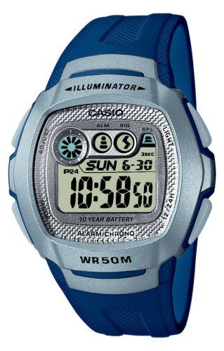 CASIO Collection W-210-2AVES - Reloj unisex de cuarzo, correa de resina color azul claro (con alarma, luz, cronómetro)