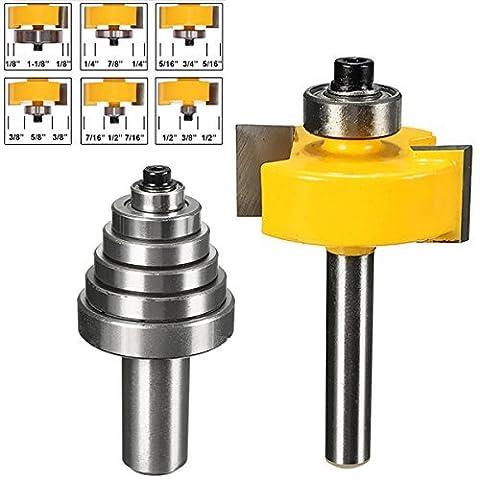 Generic Lot de 21/10,2cm en carbure de tungstène Tige Cémenter Roulement Router Bit avec 6embouts de tournevis