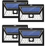 24 LEDs Foco Solar Mpow con Sensor de Angulo Ancho, Focos LED Exterior Protección Ambiental y Ahorra de Energía,Luz Solar Impermeable al Aire Libre con 3 Modos de Luces Inteligentes para Jardín Exterior Casa Camino Escaleras Pared. Solar Luz Jardin 4 Unidades