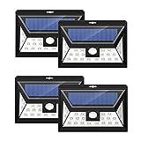 4 Unidades Mpow 24 LED Foco Solar con Sensor de Angulo Ancho, Focos LED Exterior Protección Ambiental y Ahorra de Energía. Luz Solar Impermeable al Aire Libre con 3 Modos de Luces Inteligentes para Jardín Exterior Casa Camino Escaleras Pared. Solar Luz Jardin-4 Unidad