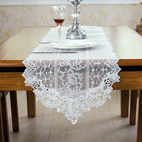 ERRU-Drapeau de table Chemin de Table Blanc Dentelle Tissu Art Table à Diner Drapeaux Table de Thé Drapeau Européen Simplicité Nappes (taille : 40cm*90cm)