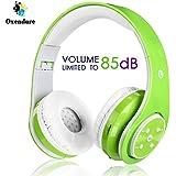 Kabellose Bluetooth Faltbare Kopfhörer für Kinder Jugendliche Leicht tragbare Headset mit Mikrofon Sportkopfhörer Hi-Fi Audio Lautstärkebeschänkung Over Ear Stereo Bügelkopfhörer. Grün