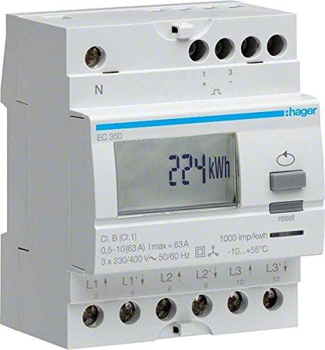 Preisvergleich Produktbild Hager EC350 Energiezähler 3-phasig 230V 1-Tarif,Direkt 63A