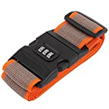 sourcingmap® Einstellbare Reise Gepäck Koffer Passwortschloss Nylon Gürtel Gurt Band Orange