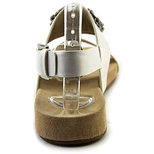 Michael Michael Kors Luna Flat Sandal Cuir Sandale Optic White
