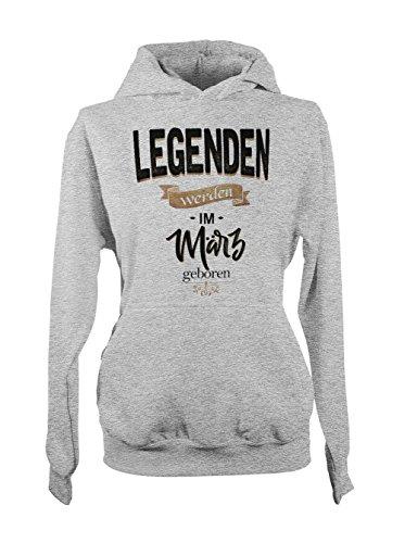 Legenden Werden Im März Geboren Geburtstag Geschenk Damen Hoodie Sweatshirt Grau Medium (Collection White Crew)