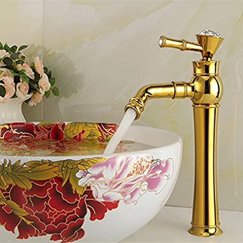 Furesnts Modern home kitchen and Bathroom Sink Taps Gold Copper braid continental hot and cold art Basin Basin Taps Bathroom Sink Taps,(Standard G 1/2 universal hose ports)