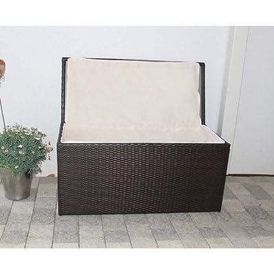 Kissenbox Aufbewahrungstruhe RomV, 118 cm, 360l, Poly-Rattan ~ braun-meliert