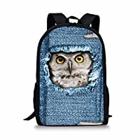 Coloranimal Cute Animal Cat Children Backpack Blue Denim Printing Kids Bookbags