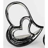 Moderne Deko-Herz Skulptur aus Keramik schwarz/silber Höhe 26 cm