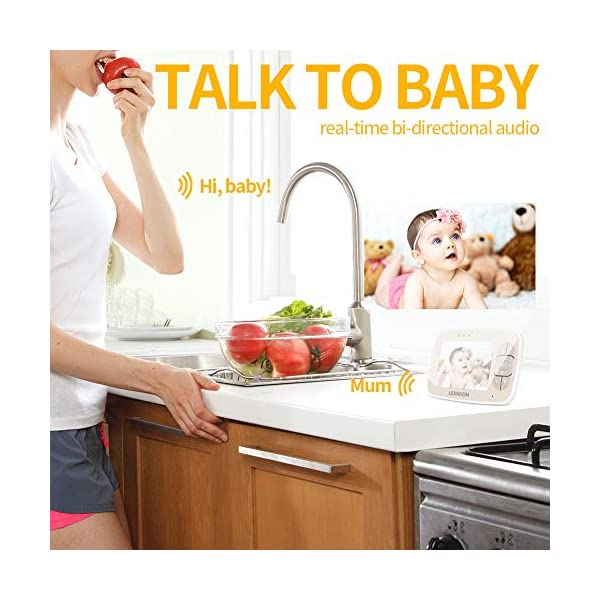 """LEXNHOM Portable Baby Monitor,Wireless Two-Way Talk 3.5 Inch baby monitors with Camera and Eco Mode,Night Vision,Temperature Monitoring , Lullabies (3.5 inch-Gold) LEXNHOM ★ FHSS TECHNOLOGY: New model of baby visual monitor with extra-large 3.5"""" TFT LCD screen and 640*480 pixels,which provides you possibility to watch your baby clearly, greatly increases freedom and flexibility for parents, it would be an ideal choice as a gift for newborn parents. ★ POWER SAVING MODE:When digital camera in silence, baby video monitor LCD display switches to standby state automatically, and turns on when camera detects any sound, changes of volume can also be displayed by the indicator light. ★ INFRARED NIGHT VISION:Video baby monitor's with infrared night vision and night light, protecting baby from glare, helping parents to see baby in darkless night clearly. 7"""