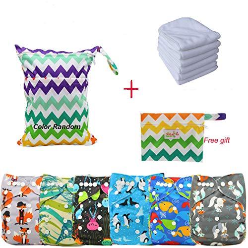 Ohbabyka Reusable Washable Baby Boys/Girls Pocket Cloth Diapers with 1pc Insertohbabyka Wiederverwendbare Unisex Baby Tuch Pocket Windeln All in One mit 1?weichen Tuch inneren -