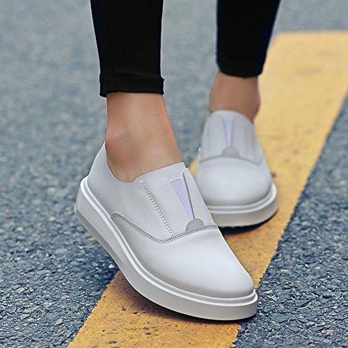 Damen Sneakers Slip On Halbschaft Lässige Herbst Halbschuhe Weiß