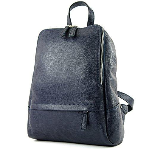 modamoda de - ital Damen Rucksacktasche aus Leder T138, Präzise Farbe:Dunkelblau