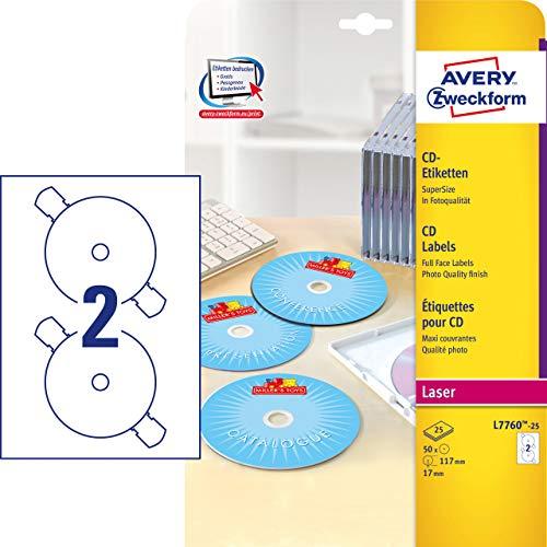 AVERY Zweckform L7760-25 CD-Etiketten (A4, 50 Stück, hochglänzend, Ø 117 mm, 25 Blatt) weiß