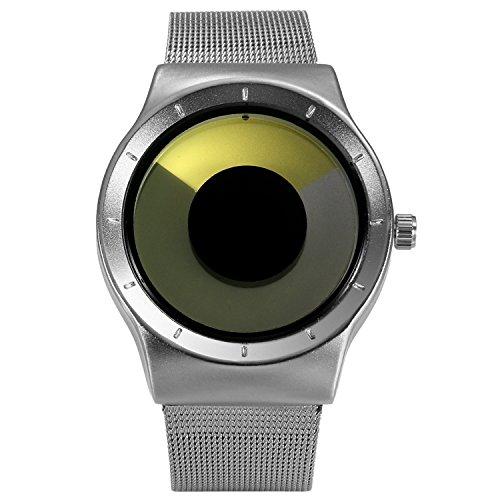 Lancardo Reloj Comercial Analógico Mostración de Tiempo Especial sin Agujas Dial Forma de Remolino Pulsera Electrónica de Cuarzo Casual Chulo para Hombre/Mujer/Pareja (Amarillo)