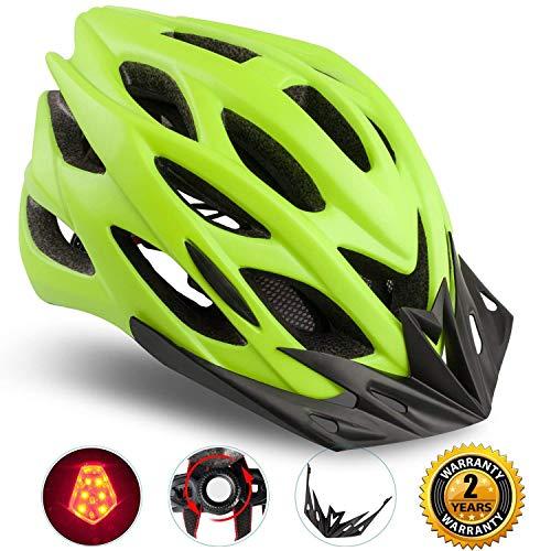 Shinmax Specializzata del Casco Bici con Luce Sicurezza Sport Regolabile Bicicletta Casco della Bici Caschi Bicicletta per Strada Bike Uomini Donne Età Gioventù Racing Protezione Sicurezza(Verde)