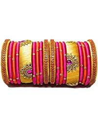 3b0375e34 Party Wear Handmade Silk Thread Bangle Pink, Gold and Orange Color Set of 18  Bangles