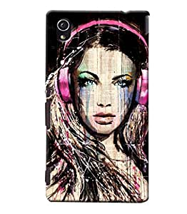 Blue Throat Girl With Headphones Printed Designer Back Cover/Case For Sony Xperia M4
