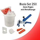 Nivelliersystem 3 mm Basis-Set 250 Laschen u. 250 Keile + Metallzange
